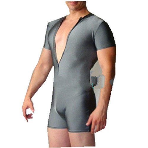 ACSUSS Men's Lycra Spandex Zipper Front Bodysuit Workout Dance Biketard Unitard Gray Medium -