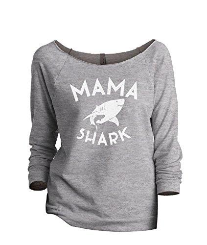 (Thread Tank Mama Shark Women's Slouchy 3/4 Sleeves Raglan Sweatshirt Sport Grey)