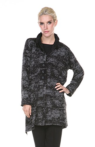 Terra-SJ Apparel Women's Double Knit Burnout Collared Shirt Top Jacket