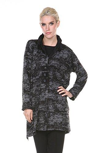Terra-SJ Apparel Women's Double Knit Burnout Collared Shirt Top Jacket