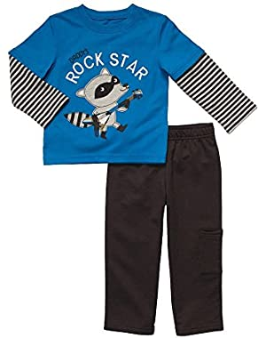 Carter Infant Boy 2 Piece Outfit Mock Layered Racoon Blue Baby T-Shirt Pants