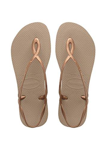 Havaianas Women's Luna Flip Flop Sandal,Rose Gold/Rose Gold, 37/38 BR(7-8 M US Women's / 6-7 M US Men's)