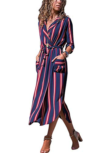 HOTAPEI Womens Casual V Neck Button Down Collar High Slit Long Sleeve Tie Waist Maxi Dress Cardigan Shirt Dresses with Belt Blue and Red Striped L