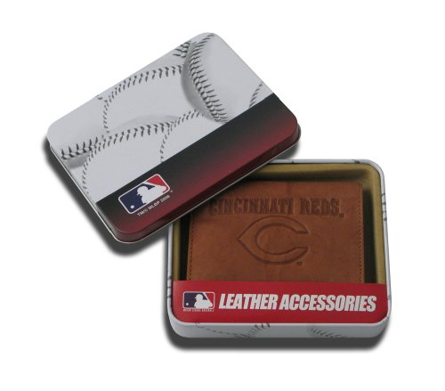 MLB Cincinnati Reds Embossed Genuine Cowhide Leather Trifold Wallet