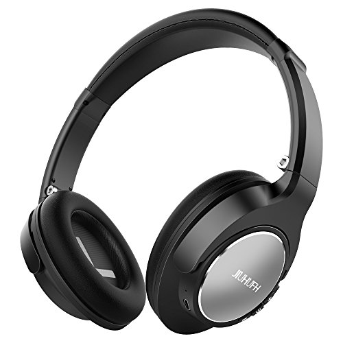 Wireless Headphones, JIUHUFH Closed Back Over Ear Headphones W/20-Hrs Playtime, Lightweight Foldable Stereo Bluetooth Headsets W/Mic Compatible with iPhone/Android Phone/Tablet/iPad - Silver