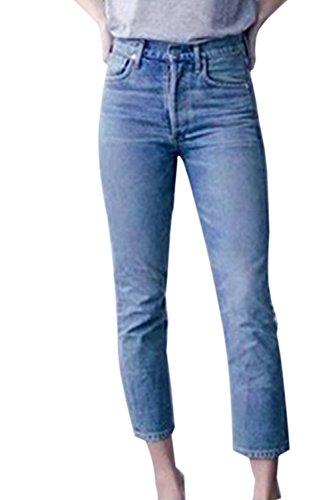 Fanvans De las Mujeres Jeans Casual Regular Straight Denim Pantalones Al Tobillo Azul