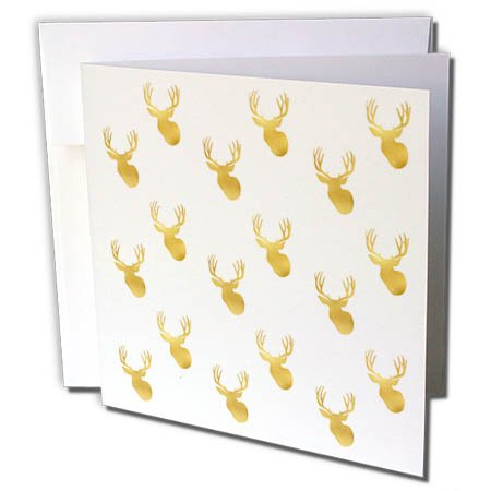 3dRose PS Animals - Image of Gold Glitz Deer - 12 Greeting Cards with envelopes (gc_274218_2)
