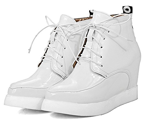 Idifu Donna Moda Tacchi Alti Stringate Sneakers Stivali Stivaletti Alla Caviglia Alti Bianchi