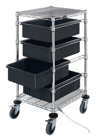 Quantum Storage Systems - BC212434M1CO - ESD-Safe Mobile Tote Cart with Four Conductive Totes, Cart Size: 21' x 24' x (Components 24' Storage)