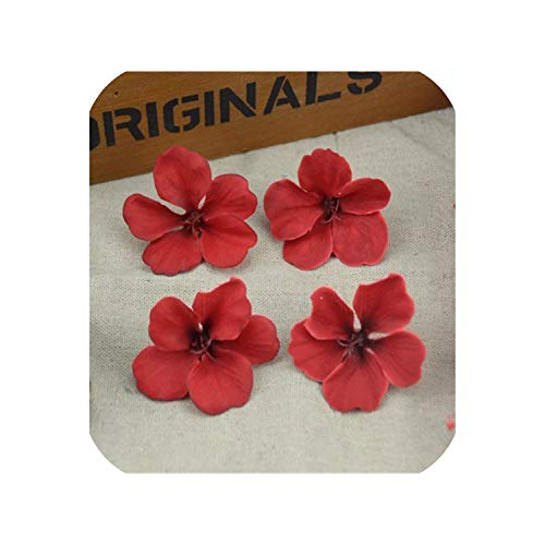 10pcs Silk Butterfly Orchid Artificial Flower Head for Wedding Car Home Decoration,Red