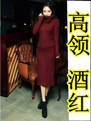 Alta Sottili A Mensdxa In Red Collo Con Abito Da Donna Alto Spalline Wine Vita E Coreano Lungo vvr6nB