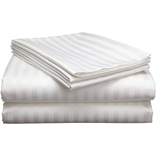 Ahmedabad Cotton Premium 250 TC Sateen Bedsheet With 2 Pillow Covers    Striped, King Size, White: Amazon.in: Home U0026 Kitchen