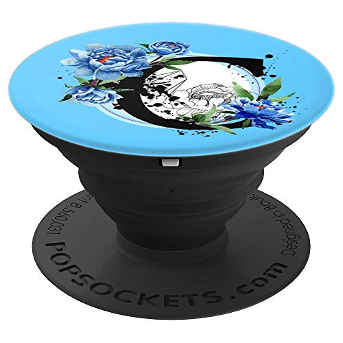 Initial Letter C Monogram Geometric Shape Peony Blue - PopSockets Grip and Stand for Phones and Tablets