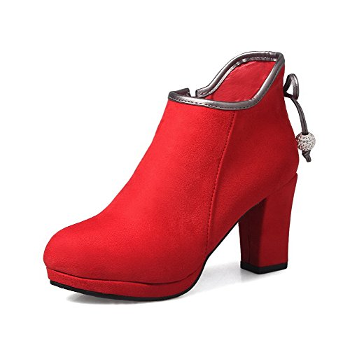 Heels AmoonyFashion Red Closed top Suede Round Imitated Boots Zipper Toe Low Women's High YrqAHYn