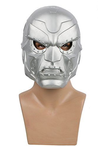 Dr Doom Helmet Deluxe Silver Latex Mask Halloween Cosplay Accessory Xcoser