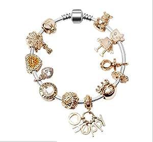 Swarovski Elements Bracelets Silver Plated Snake Chain Bracelets Lovely Golden Beads Charms Bracelets 18cm