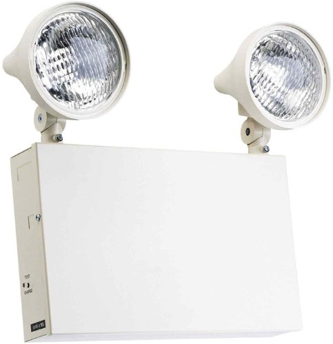 (Sure-Lites XR12208 12-Volt Commercial Steel Emergency Light with 9-Watt Incandescent Lamps and 36-Watt Remote Capacity, White)