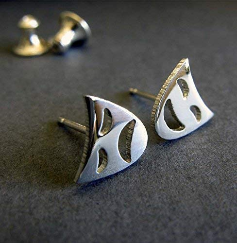 (Drama mask post earrings sterling silver stud. Comedy or Tragedy actor actress gift. Handmade in the USA.)