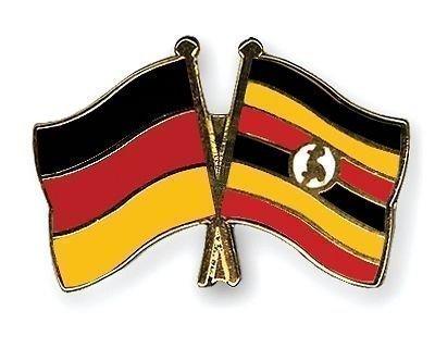 Allemagne & Ouganda amitié drapeaux Plaqué Or-Gifts Épinglette émaillée