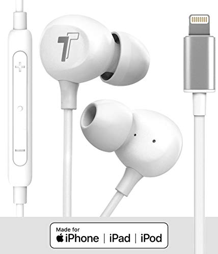 Thore V60 in Ear Headphones for iPhone 11/Pro Max Earphones (Apple MFi Certified) Wired Lightning Ear Buds with Mic (for iPhone 7/8 Plus, X, Xs Max, XR) White