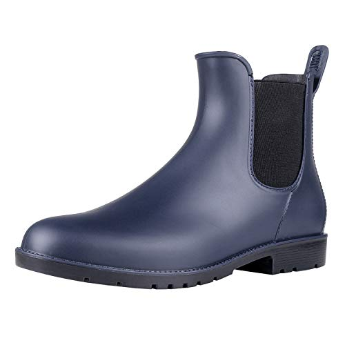 Asgard Women's Short Rain Boots Waterproof Slip On Ankle Chelsea Booties Navy - Pull 12