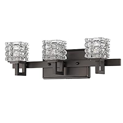 Acclaim Lighting IN41316ORB Coralie Indoor 3-Light Bathroom Sconce with Crystal Glass Shades, Oil Rubbed Bronze