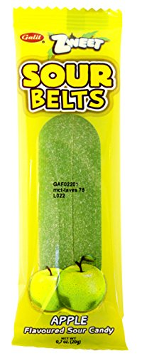 Zweet Sour Belts Apple Gummy Candy, 0.7 Ounce (Pack of 24)