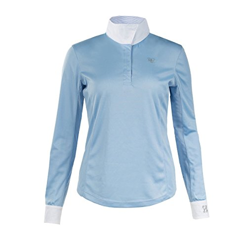 Horze Blaire Ladies UV Ice Fit Long Sleeve Show Shirt, Blue, 10 (Shirt Ladies Show)