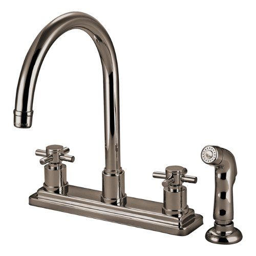 Kingston Brass KS8798DX Concord Twin Cross Handles 8-Inch Kitchen Faucet With Matching Finish Sprayer, Brushed Nickel - Handle Kitchen Cross