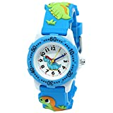 Beetest Child Waterproof Watch, 3D Cute Cartoon Dinosaur Round Dial Silicone Sport Child Waterproof Quartz Watch for Little Kids Toddles Boys Girls Gift Blue