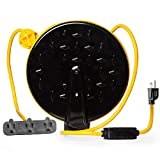 Retractable Extension Cord Reel with 3 Electrical Power Outlets - Multiple Gauges & Lengths to Choose From - Perfect for Hanging from Your Garage Ceiling (16/3 Gauge, 30ft Length - Yellow & Black)