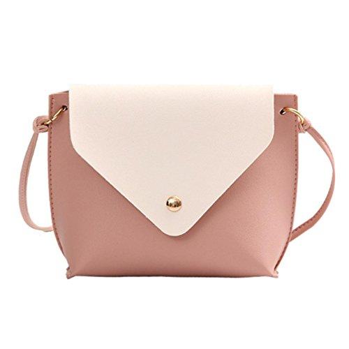 Crossbody Bag Brown School Women Bag Satchel Hit Messenger Tote Bag Pink Shoulder Leather Color Fashion qpFxPww