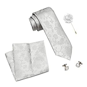 Axlon Men's Silk Stain Resistant Neck Tie Accessory Set (Grey, Free Size)