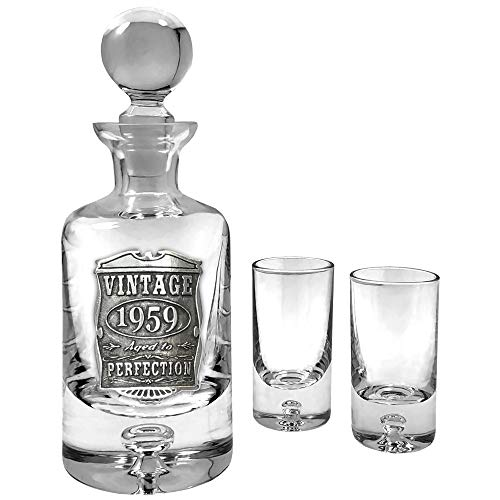 English Pewter Company Vintage Years 1959 60th Birthday or Anniversary Luxury Mini Liquor Decanter Set and 2 Shot Glasses Gift - Unique Gift Idea for Men - Mini Luxury