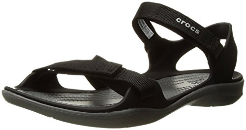 Crocs Women's Swiftwater Webbing W Flat Sandal, Black, 8 M US