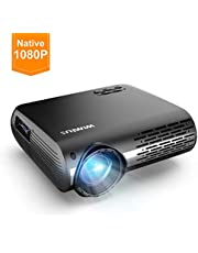 """WiMiUS Projector 1080P,6200 lumen Video Projector HD 1080P with Native 1920x1080P Electronic 4D ±50°Keystone Correction LED Projector Support 4K 300"""" LCD Projector Compatible Smartphone,TV Box"""