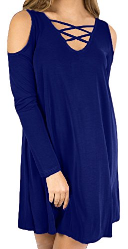 T Lace Casual Off Sleeve Womens Blue Long Shirt Tunic up Shoulder the Nulibennas Dress pWTnAvp