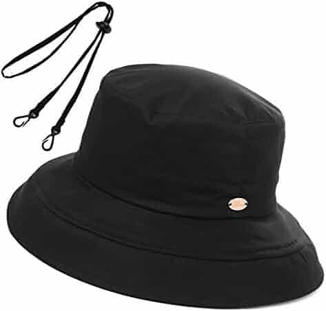 0f78097e Womens UPF50 Cotton Packable Sun Hats w/Chin Cord Wide Brim Stylish 54-60CM