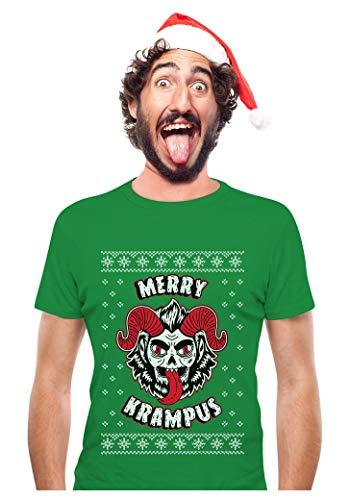 Tstars - Merry Krampus Ugly Christmas Naughty Demon T-Shirt X-Large Green -