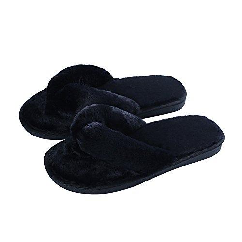 Coton Couleurs Chaud En Élégant 4 Noir hiver L'automne Mesdames Peluche De Pour Pantoufle Tongs Lit Anti dérapant Chaussures Fourrure Mstar qUvxXwY