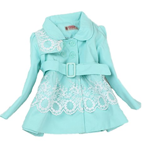 Baby Girls Princess Flower Long Jacket Outwear Trench Coat Autumn Winter Clothes (8#3-4 years, blue)