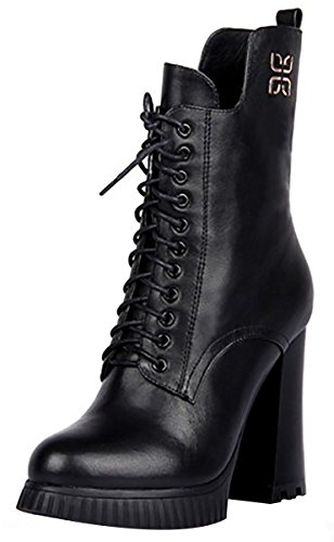 Heel High Boot Black Fashion Leather Women's Laruise 1qv4fS7f