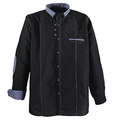 Modernes Herren langarm Hemd in Übergröße von Lavecchia schwarz