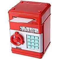 صندوق ادخار الكتروني بشكل حصالة نقود صغيرة لحفظ النقود للاطفال، لون احمر