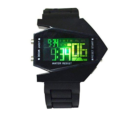 Digital Jelly Sport 5 (WPOS® Elegant Airplane Style Digital LED watches Silicone Wrist Watch (Black))