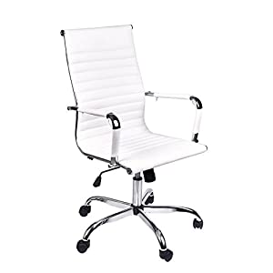 Elecwish Adjustable Office Executive Chair High Back Tall Ribbed Pu Leather Wheels Arm Rest Computer Chrome Base Home Furniture Conference Room Reception