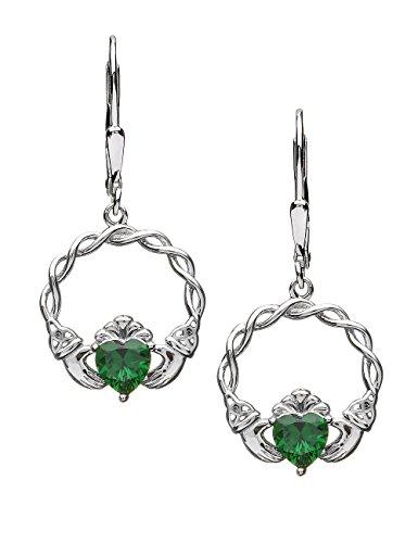 Earrings Claddagh Celtic (Biddy Murphy Silver Claddagh Earrings Green CZ Dangles Made in Ireland)
