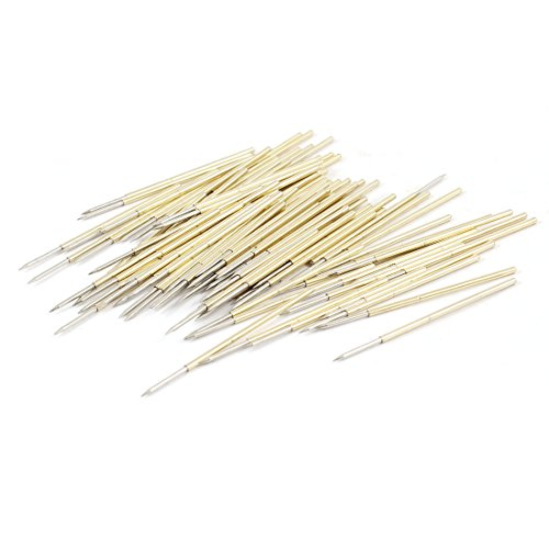 uxcell 100 Pcs Spring Test Probes Testing Pins 0.74mm Pointed Tip PL75-B1
