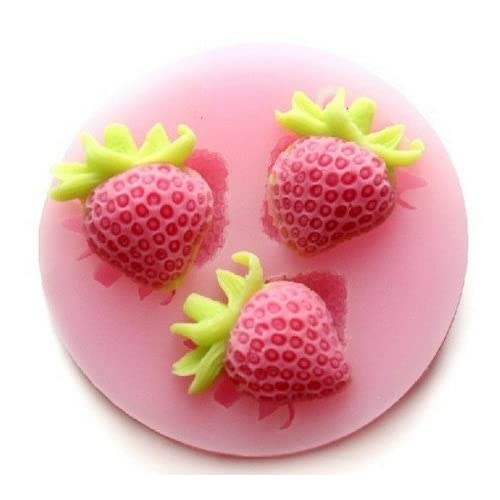 Allforhome(TM) 3 Cavity small Strawberry Silicone Sugar Resin Craft DIY Moulds DIY gum paste flowers Cake Decorating Fondant Mold