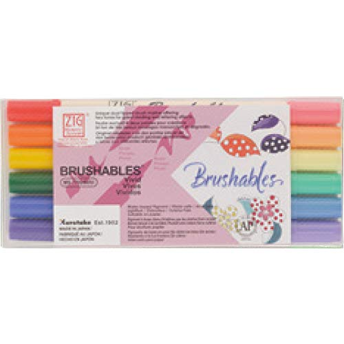Kuretake ZIG Brushable Brush tip pen, dual tip (two tone) brush marker, 6 Vivid colors (Vivid) ()